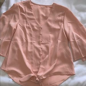 NWOT Nude/Pink Button Down Top With Tie